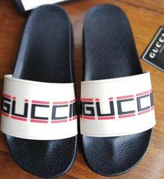 Micro Gears Australia - Designer Rubber slide sandal Floral brocade men slipper Gear bottoms Flip Flops women striped Beach causal slipper with Box