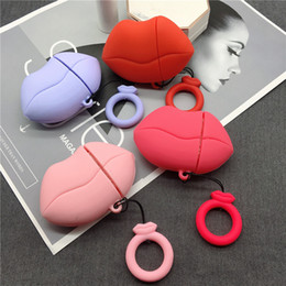 silicone lips 2019 - Case Fashionable Sexy Red Lips Earphone Case For Apple Airpods 1 2 Silicone Protect Cover with Finger Ring Strap wholesa