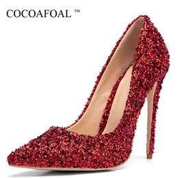 $enCountryForm.capitalKeyWord Australia - Cocoafoal Golden Woman High Heels Shoes Sexy Plus Size 33 43 Pointed Toe Shoes Black Blue Green Red Party Stiletto Sexy Pumps