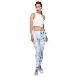 fitness girls leggings NZ - Women Leggings Blue White Marble 3D Digital Full Printed Sports Yoga Wear Pants Lady Soft Runner Pencil Fit Girls Fitness Trousers (Y52053)