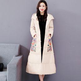$enCountryForm.capitalKeyWord Australia - Vintage Embroidered Winter Down Cotton Jacket Women Parka Thick Long Overcoat Warm Hooded Parkas Coat Women Plus Size 4XL C5684
