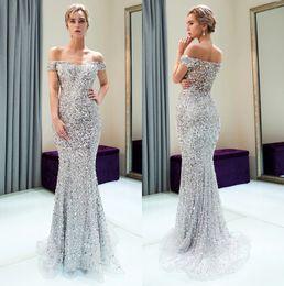 Discount designer shoulder strap - Silver Off The Shoulder Major Beaded Mermaid Long Evening Dresses 2019 Tulle Beaded Sequins Floor Length Formal Party Pr
