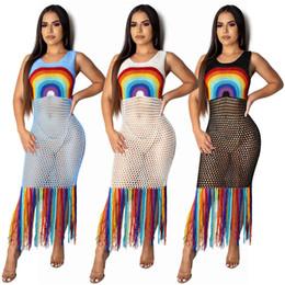 $enCountryForm.capitalKeyWord Australia - Summer Beach Bikini Cover Sexy Hollow Out Hand Knitting Rainbow Pattern Long Dresses with Tassel Big Discount FZ-060