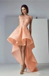 $enCountryForm.capitalKeyWord Australia - 2019 Newest High Low Nude Pink Prom Dresses Capped Sleeves Bateau Neckline Lace Appliqued Evening Party Dress Formal Occasion