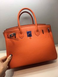 Chinese  Classic tote bag real leather orange bag lady handbag 3 sizes soft Genuine Leather fashion women bag good quality (Anita) manufacturers