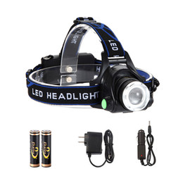 Wholesale Headlamps XM L T6 LED lm Head Lamp High Power led Headlamps Head Torch Lamp Flashlights with Battery Charger Car Charger