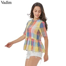 Women White shirt boW tie online shopping - Vadim Women Sweet Colorful Plaid Shirts Back Bow Tie Short Sleeve O Neck Blouse Ladies Summer Casual Tops Blusas Dt1068 MX190712