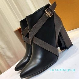 chunky canvas shoes NZ - Matchmake Low Boots Womens Designer Shoes Top Quality Ankle Boots Classic Monogram Canvas Strap Boots Graphic Block Heels Booties