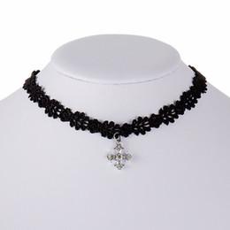 Black gothic cross pendant online shopping - New Vintage Cross Pendant Black Lace Choker Necklace Gothic Fashion Choker Jewelry