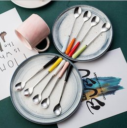 candy kitchen Australia - Ceramic handle candy-colored stainless steel tableware creative mixing spoon coffee ice cream spoon kitchen accessories