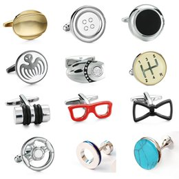 shirts car brands Australia - KC high quality men's shirt brand cuff links new fashion car gear cowhide rope glasses  007  steering wheel cuff links