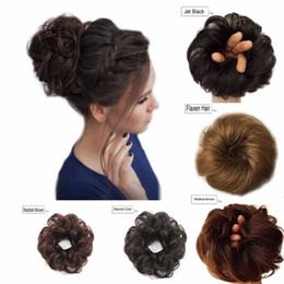 Donut Buns For Hair Australia - Human Hair Bun Messy Bun Hair Extensions Wavy Curly Wedding Hair Pieces for Women Kids Updo Donut Chignons