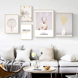 wall stickers rabbits UK - Nordic Sweet Life Rabbit Bunny Pink Girl Dream Canvas Painting Vintage Kraft Posters Coated Wall Stickers Home Decor Home Gift