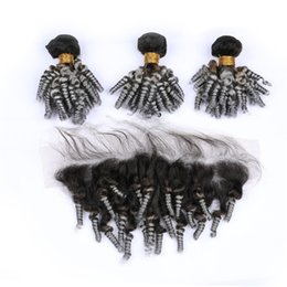 wholesale funmi human hair Canada - Virgin Malaysian Aunty Funmi Silver Grey Ombre Human Hair Bundles with 13x4 Lace Frontal Sprial Curly #1B Grey Ombre Weaves with Frontal