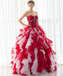 $enCountryForm.capitalKeyWord Canada - Amazing Masquerade Prom Dresses Cheap Sweetheart Beaded Ruffles Two Tone In Stock Debutante Sweet 16 Girls Quinceanera Dresses with Jacket