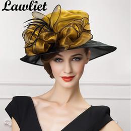 $enCountryForm.capitalKeyWord Australia - wholesale luxury Women Fascinators Organza Bow Sun Hats Gold Gray Wide Brim Lady Kentucky Derby Race Wedding Hats Bride Mom's Hat