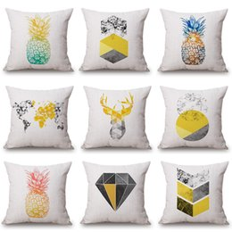 Cotton World Map Australia - Watercolor Pineapple Cushion Covers 45X45cm Nordic Deer World Map LOVE Thick Linen Cotton Pillow Case Bedroom Sofa Decoration