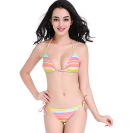 $enCountryForm.capitalKeyWord UK - Amazing Rainbow Bathing Knitted Swimwear Woman Bikini 2019 Swimming Pool Bikini Bathing Suits Strappy Fully Lined Swimsuit