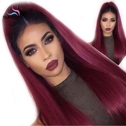 long straight dark brown wigs Australia - Ombre Color 1BT99J Full Lace Wig Brazilian Virgin Hair Silky Straight Lace Front Human Hair Wig Dark Root Long Sexy For Women