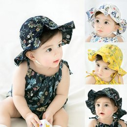 toddler boys sun hats UK - New Floral Baby Hat Newborn Baby Girl H at Beach Bucket Cap Spring Children Kids Girls Summer H at Infant Toddler Sun Hat Mutsjes