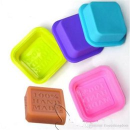 Wholesale Art Molds UK - Delicate Cute Craft Art Square Silicone Oven Handmade Soap Molds DIY Soap Mold Baking Moulds Random Color free shipping 2017090211