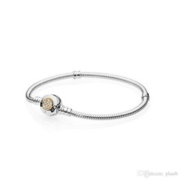 pandora stamp bracelets UK - Sterling Silver Women Bracelets White Micro Paved Round Bracelet Logo Stamped for Pandora European Charms Beads Jewelry with box