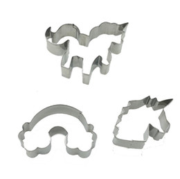 metal baking shapes Canada - Cookie Cutter Mold Unicorn Shape Stainless Steel Cookie Moulds Baking Moulds 3pcs set SN2608