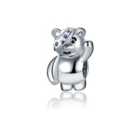 Wholesale Silver Charm Beads Hello Cartoon Bear Enamel European Charms Bead Fit Pandora Snake Chain Bracelet Necklack Fashion DIY Jewelry