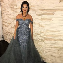 7f4848786a04 2020 Sparkly Grey Mermaid Evening Dresses With Over Skirt Off Shoulder Sweep  Train Appliques Beads Long Arabic Formal Dress Women Prom Gowns