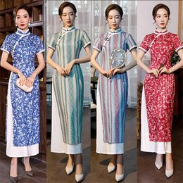 young women clothing UK - 2020Asian Traditional Clothes Aodai Women Split Cheongsam Dress Girls Thin Sexy Stripe Qipao Short Sleeve Young Chinese Vestiddo