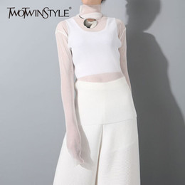 T Shirt Dress Winter Australia - Twotwinstyle Pleated Female For Women Top Knitting Pullovers Perspective High Collar T Shirts Winter Clothes Fashion C19041801