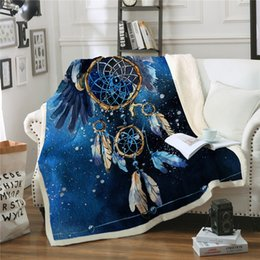$enCountryForm.capitalKeyWord Australia - NEW Dream catcher Sherpa Blanket Blue Galaxy Bedspread Bald Eagle Velvet Plush Beds Blanket Bohemian Mantas Para Cama