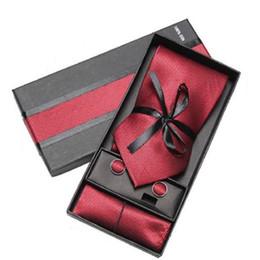 Purple Tie Sets For Men Australia - gift set necktie cufflink handkerchief for men tie neckwear neck tie set neckties cuff link boxed gift fashion accessory 2 sets lot