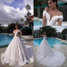 $enCountryForm.capitalKeyWord Australia - 2019 Vintage Full Lace Wedding Dresses Off Shoulders 3D-Floral Lace Appliques Bridal Gowns with Corset Back Tulle Long Court Train