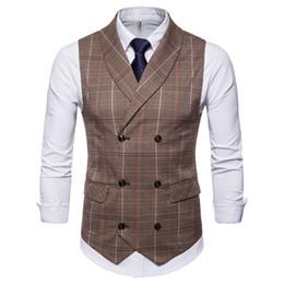 $enCountryForm.capitalKeyWord UK - 2019 New Amazon Spring Autumn Hot Sale Men's Groom Vest Plaid Double-Breasted Casual Waistcoat Men Plaid Suit Vest