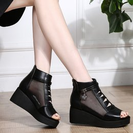 thick shoes fish mouth NZ - Crystal2019 Fish With Slope Mouth Shoes. Woman Thick Bottom Muffin Within Increase Sandals Hollow Out Ventilation Cool Boots