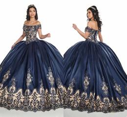 Short royal blue Sweet 16 dreSSeS online shopping - 2020 Navy Blue Nude Off Shoulder Prom Quinceanera Dresses D Floral Applique Lace Beaded Corset Back Sweet Dress Ball Gown Vestidos De