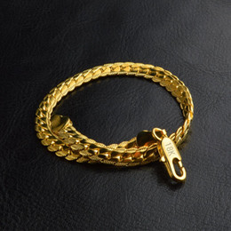 flat snake chains Canada - Gold Color bracelet fashion jewelry 5MM 20cm snake Flat male chain Bracelet Armband pulsera for men male mujer 18 K stamp