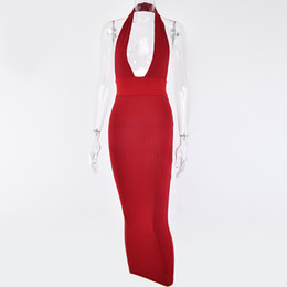 $enCountryForm.capitalKeyWord UK - Articat Halter Backless Sexy Knitted Pencil Dress Women White Off Shoulder Long Bodycon Party Dress Elegant Autumn Winter Dress