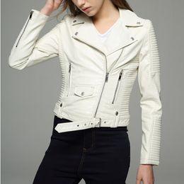 Womens motorcycle faux leather jacket online shopping - Long sleeves womens jackets black beige white leather clothing slim motorcycle leather jacket women outerwear coats winter