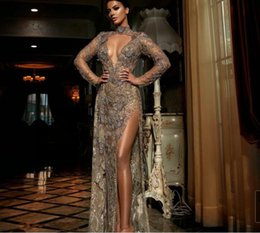 kim kardashian bead dress NZ - Evening dress Bead Sheath Crystals High-Neck Long sleeve Kim kardashian Free shipping Drop shipping Crystals Youself aljasmi Labourjoisie