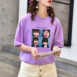 T Shirt Woman Korea NZ - Korea New 2019 Summer tshirt BF Casual Purple Print College Short Sleeve Basic T-shirts Female T Shirt Harajuku Women Top Tshirt