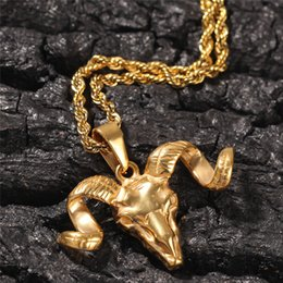 gold sheep NZ - Retro Sheep Head Pendant Necklace Gold Plated Shofar Punk Stainless Steel Men'sNecklace Hip Hop Jewelry
