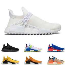 Canvas martial arts shoes online shopping - New human race hu Pharrell Williams men women running shoes NERD Black Blank Canvas Homecoming Solar Pack Mother trainer sport sneaker