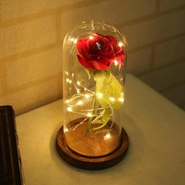 wooden string lights 2019 - Rose 20 led String Light Glass Dome Wooden Base Night Lamp Party Home Desktop Decoration Romantic Birthday Valentine Gif