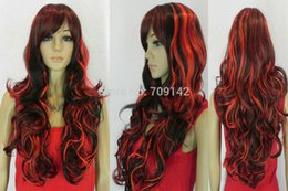 $enCountryForm.capitalKeyWord Australia - Vogue Red Black Long Wavy Oblique Bangs Synthesis Cosplay Women Hair Full Wig made Brazilian no lace front wigs
