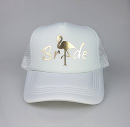 C Fung Flamingo Trucker Hat Gold Vinyl wedding party Bachelorette Baseball  Cap Vacation beach ladies team bride hats  319714 e92d88dac61a