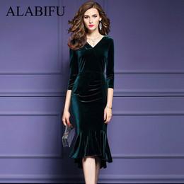 9f006538c09fb Alabifu Spring Summer Dress Women 2019 Vintage Mermaid Velvet Dress Sexy  Bodycon Long Party Dress Ukraine Vestidos Plus Size 3xl Y190408