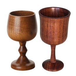 Glass china Glasses online shopping - Hot Wood environmental protection classical round wine cup high quality single layer solid wood cup high foot red wine cup T3I5295