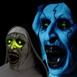 Sexy Nun Halloween Costumes Australia - ostume Accessories The Nun Mask Horror Mask Scary Voice With Led light Cosplay Valak Latex Masks With Headscarf Helmet Halloween Party P...